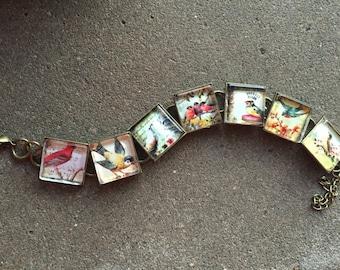 Victorian post-card Birds Bronze link bracelet. Robins, Sparrows, Bluejays... FREE USA shipping