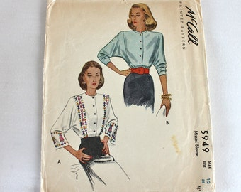 1940s Sewing Pattern /1940s Blouse Pattern/ McCall 5949 / bust 30""