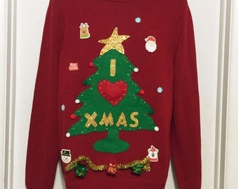 Ugly Christmas Sweater, Sweater, Christmas Sweater, Christmas Tree, Ugly Sweater Party, Medium, Red Sweater, Item #13