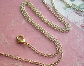 """18"""" inch Necklace .. Oval Links, Cable Chain .. Antique Copper, Antique Brass, Soft Gold or Silver links .. One Ready to wear Chain w/clasp"""