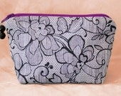 BLACK LACE Cotton and Silk Cosmetic Pouch