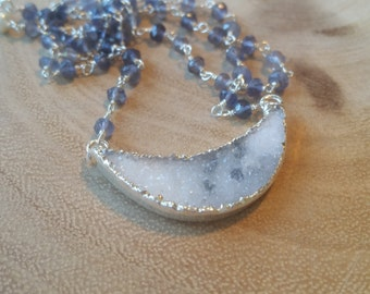 Crescent Drusy Moon Pendant Iolite Stones Sterling Silver Necklace