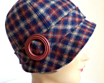 1920s Cloche in Vintage Plaid Wool - Women's Cloche Hat - Fall Hat