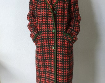 Vintage Welsh Wool Coat - Mari Lywd - Red and Green 1960s Pant Coat