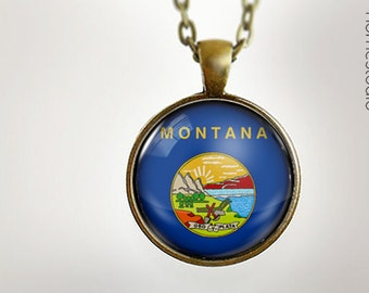 Montana State Flag : Glass Dome Necklace gift present by HomeStudio. Round art photo pendant jewelry. Available as Key Ring Keychain