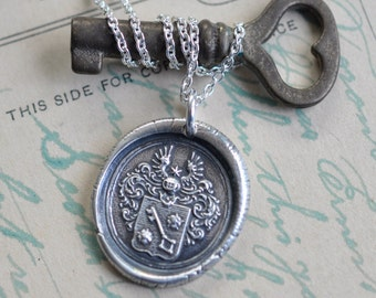 skeleton key necklace - skeleton key and wings wax seal necklace pendant … knowledge, life - silver armorial wax seal jewelry
