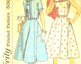 UNCUT Simple to Make 1950's Full Skirted Dress with Square Neckline Bust 41 Simplicity 2507