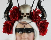 EXCLUSIVE LISTING FOR Mo - Horn and skull headress, Roses, Voodoo Priestess, Day of the Dead