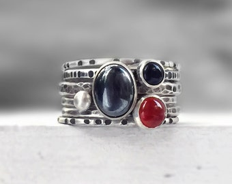Hammered Silver Stacking Rings with Hematite, Carnelian and Onyx, Rustic Stackable Rings, Mixed Textures, Patina