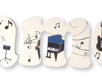 Music Notes Custom Hand Painted Nursery Letters Nursery Wall Hanging Letters Wood Nursery Letters Girls Nursery Wall Decor