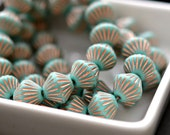 Turquoise Skies - Czech Glass Beads, Opaque Turquoise, Metallic Copper, African Style Bi-Cone Beads 14x10mm - Pc 6