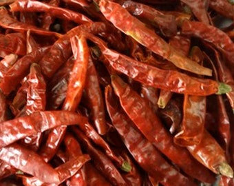 Dried Peppers, Red Hot Chili Peppers! Dried Japones Chiles, Approx. 30+ peppers, Crafts, Cook, Oils, Vinegars, Large Parrot Treats