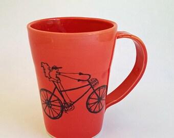 Coffee Cup, Made to Order, Handmade Porcelain Mug, Squirrel Riding a Bike, Squirrel Lover Mug, Squirrel Illustration, Squirrel Cup