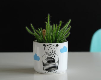 Bear in a bathing suit plant pot planter black and white
