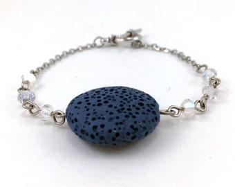 Blue Lava Bracelet, Essential Oil Bracelet, Lava Stone Jewelry, Diffuser Pendant, Aromatherapy Jewelry, Coin Pendant, Swarovski Crystals