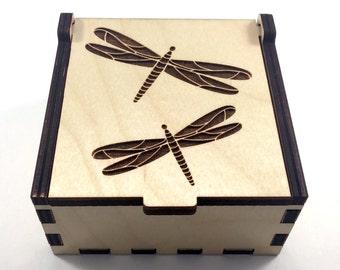 Dragonfly Jewelry Box, Wood Trinket Box, Small Jewelry Case, Laser Cut Box, Jewelry Storage Box, Dragonfly Wood Box, Jewelry Organizer