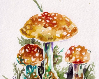 Mushrooms in Watercolor - Original Painting of Yellow Mushrooms - Mushroom Art by Jen Tracy