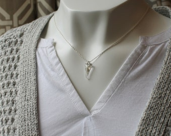 Crystal Shadow Spike Necklace / Triangle Crystal Sterling Silver Necklace / Modern Crystal Jewelry / Triangle Necklace / Gift for Her