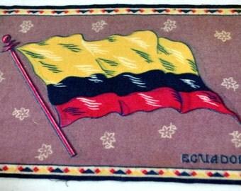 Ecuador Flag Flannel Felt Cigarettes Insert Vintage Tobacco Old Antique