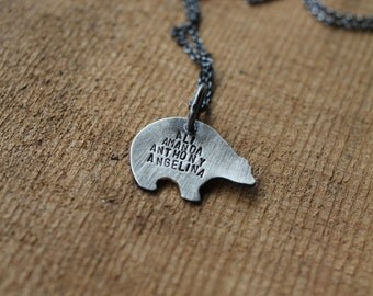 bear silhouette necklace: woodland animal - sterling silver bear