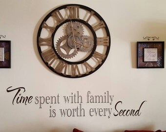 vinyl Decals Time Spent With Family is worth every Second vinyl wall decal, Family Wall Decals,Family Quotes,Living Room Wall Decor