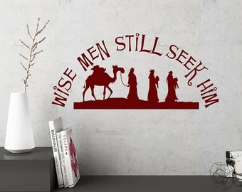 Rustic Christmas Decorations, Wise Men Still Seek Him, Christmas Vinyl Wall Decal Words, Christmas Decal, Rustic Christmas Decor, Farmhouse