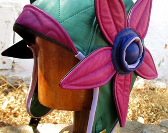 Flower Power Aviator 1960s/ 1920s Style in Soft Green Leather w/ Purple Leather Flowers