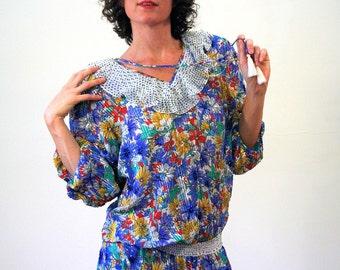 80s Diane Freis Dress, Beaded Floral Boho Midi Dress, Designer Dress, Blue Floral Gypsy Dress, Beaded Bohemian Dress, Sequin Dress, M