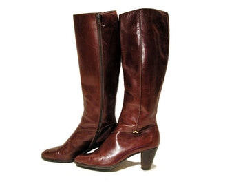 Vintage Ferragamo Boots, Riding Boots size 8 AA, Tall Oxblood Leather Boots, Italian Designer Boots, Knee High Boots