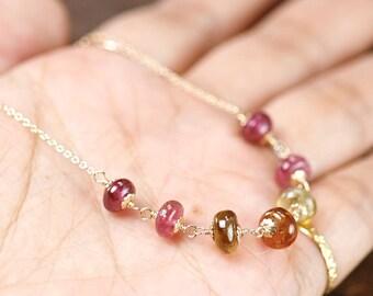 Tourmaline Necklace, Tourmaline rondelle 14k gold filled chain necklace, Layering Tourmaline Necklace, October Birthstone