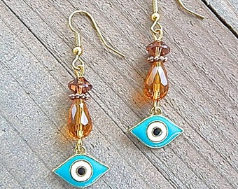 Protective Teal Blue Evil Eye Enamelled Earrings With Swarovski Brand Crystals