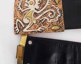 Vintage Mexican Copper Aztec Monkey God Buckle & Leather Belt - Adjustable