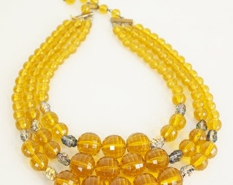 Vintage 3-Strand Golden Yellow Bead Necklace