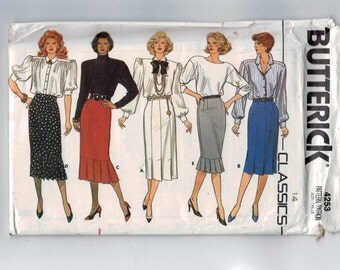 1980s Vintage Sewing Pattern Butterick 4253 Misses Slim Skirt with Kick Pleats Size 14 Bust 36 Waist 28 80s 1986 UNCUT