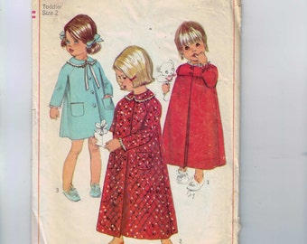 1960s Vintage Sewing Pattern Simplicity 7375 Girls Robe Nightgown Size 2 Breast 21 60s 1967