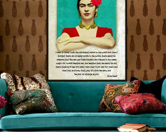 Frida Kahlo Quote Just As Strange As You Poster Print Instant Digital Download Mixed Media Leaning Out Window Aqua Red  White Yellow Unique