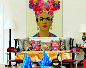 Frida Kahlo Poster Instant Digital Download Floral Headpiece Mauve Pale Blue Pink Red Yellow Purple Black White Small t Poster