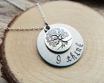 I Think Darwin Stamped Necklace- Biology Evolution Stamped Tree Disk- Biology Grad Round Pendant Necklace Jewelry on Chain