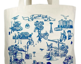 Capitol Hill Screen Print Canvas Tote Bag