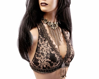 Halter, C, D or DD Cup, Dark Gold Lace, Brass, Black, Bellydance, Costume, Tribal, Fusion, Sequins, Hoop, Circus, Carnival, Bra