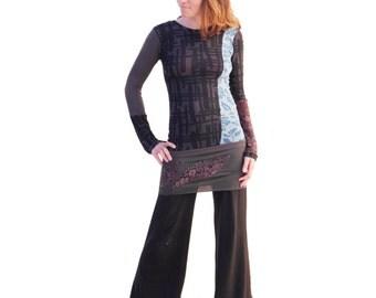 Undercover Ninja Long Sleeve Tee Shirt - Patchwork, Upcycled, Eco Top, Womens OOAK