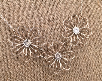 Sterling Silver necklace, three flowers