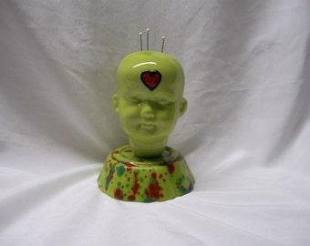 Green Ceramic Doll Head  Pin Cushion