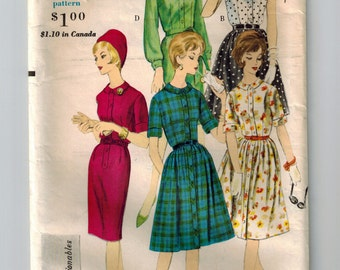 Vintage 60's One Piece Madmen Dress Sewing Pattern Size 12 Bust 32 Pleated or Straight Skirt French Cuffs Rolled Up Sleeves or Sleeveless