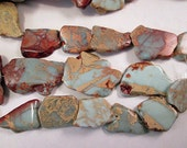 Jasper Beads, African Opal, Aqua Terra, Impression Jasper Slab Beads, Side Drilled Slices, Free Form Slabs, 22-35mm, Qty 3  - gm434