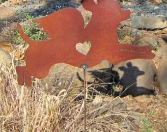 Rusty Finish Metal Chihuahua Dog Angel Memorial Garden Art Yard Stake