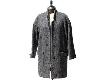 Blue Gray Herringbone Voluminous Coat / Minimalist Oversized Coat