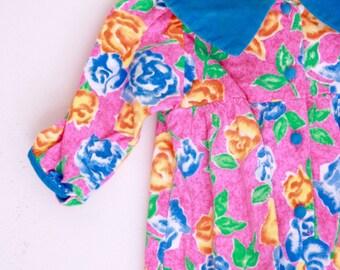 Vintage baby girls romper by Baby Beluga 12 months pink blue and orange