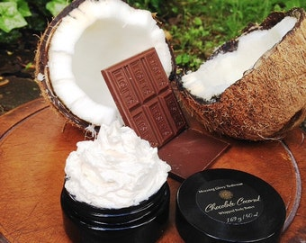 Organic Whipped Body Butter ~ Creamy, Decadent, Clouds of Silk // Extreme Hydration for Dry Skin // Chocolate Coconut Aroma