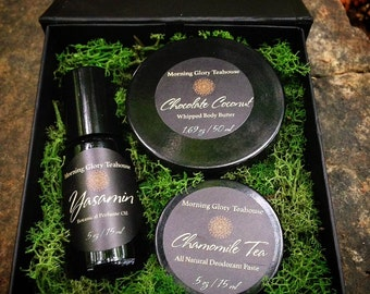 Botanical Body Care Gift Set ~ Botanical Perfume Oil, Chocolate Coconut Whipped Body Butter, Chamomile Tea Blend Whipped Deodorant Paste